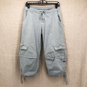 PRANA Blue Breathe Cropped Drawstring Cargo Pants